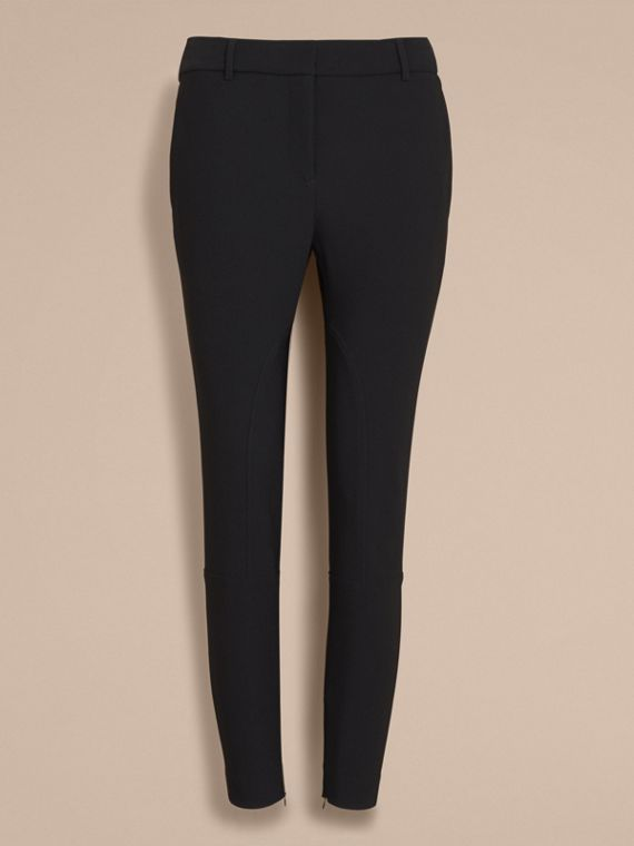 Cropped Slim Fit Trousers in Black - Women | Burberry - cell image 3
