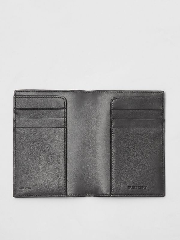 Monogram Leather Passport Holder in Black - Men | Burberry - cell image 2