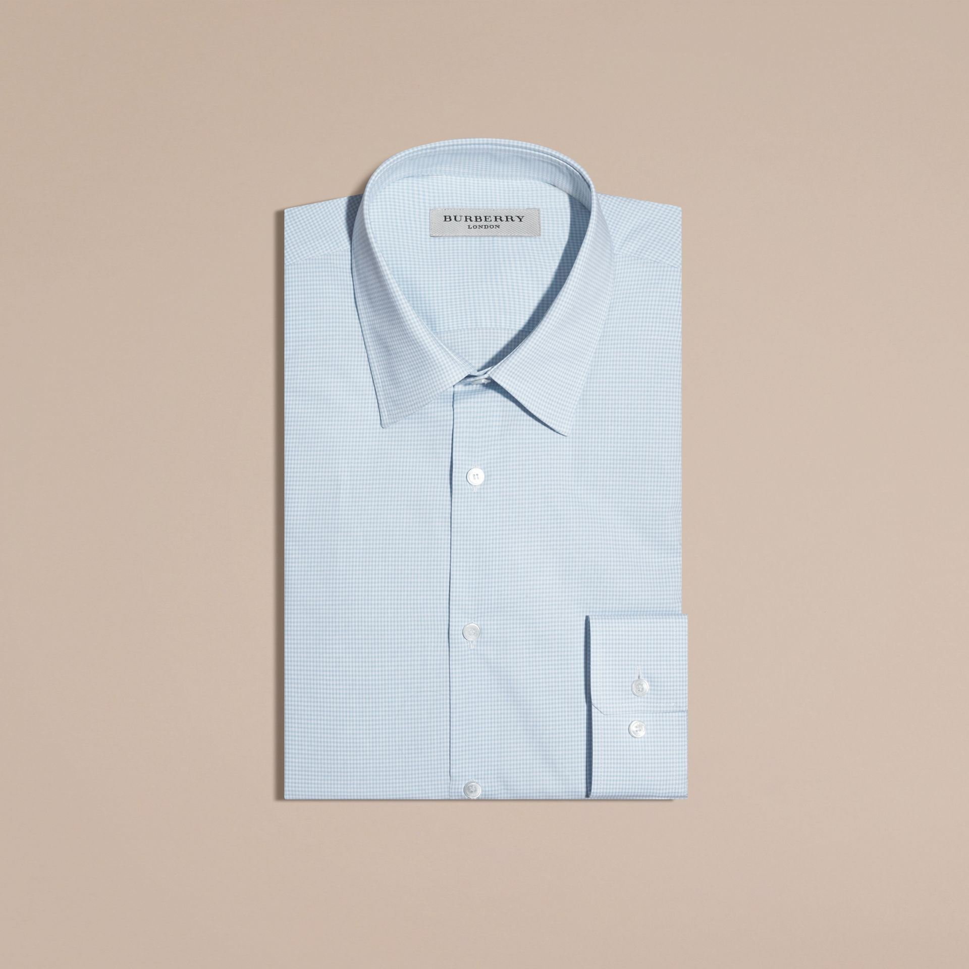 Slim Fit Gingham Cotton Poplin Shirt in City Blue - Men | Burberry - gallery image 4