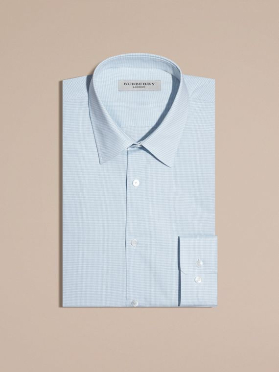Slim Fit Gingham Cotton Poplin Shirt in City Blue - Men | Burberry - cell image 3