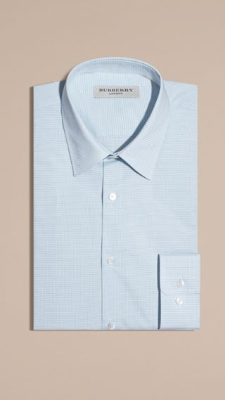 Slim Fit Gingham Cotton Poplin Shirt