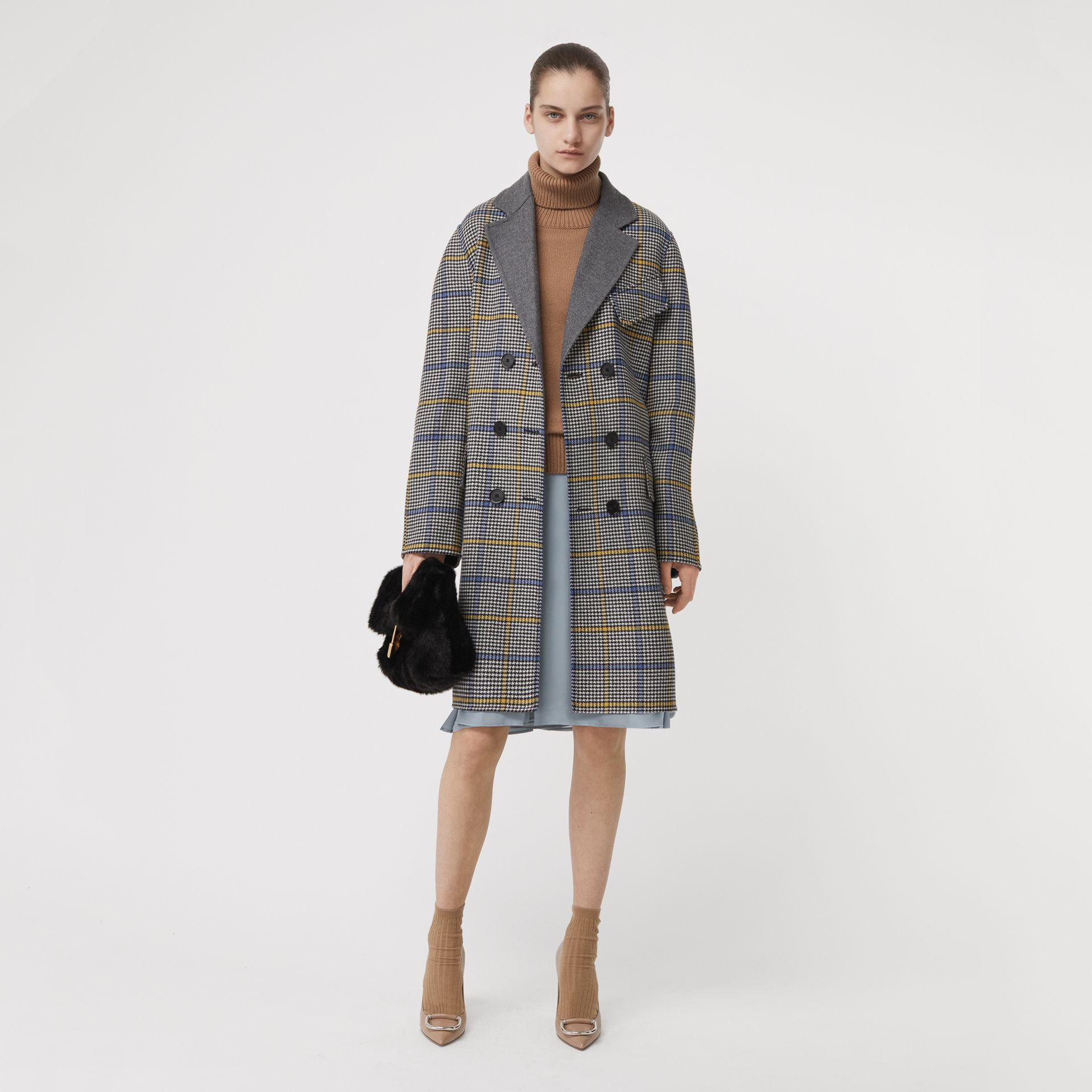Double-faced Check Wool Cashmere Coat in Parchment - Women | Burberry Australia - gallery image 0