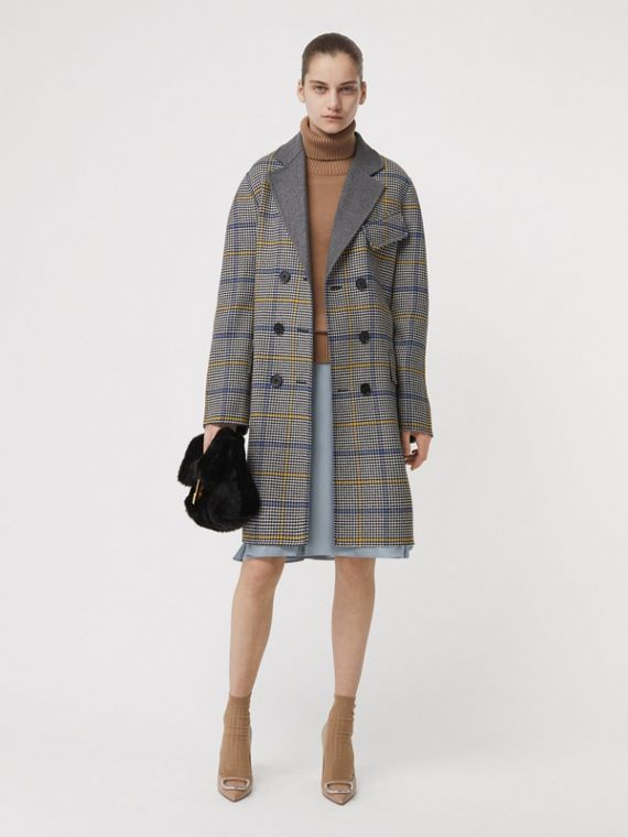 Double-faced Check Wool Cashmere Coat in Parchment