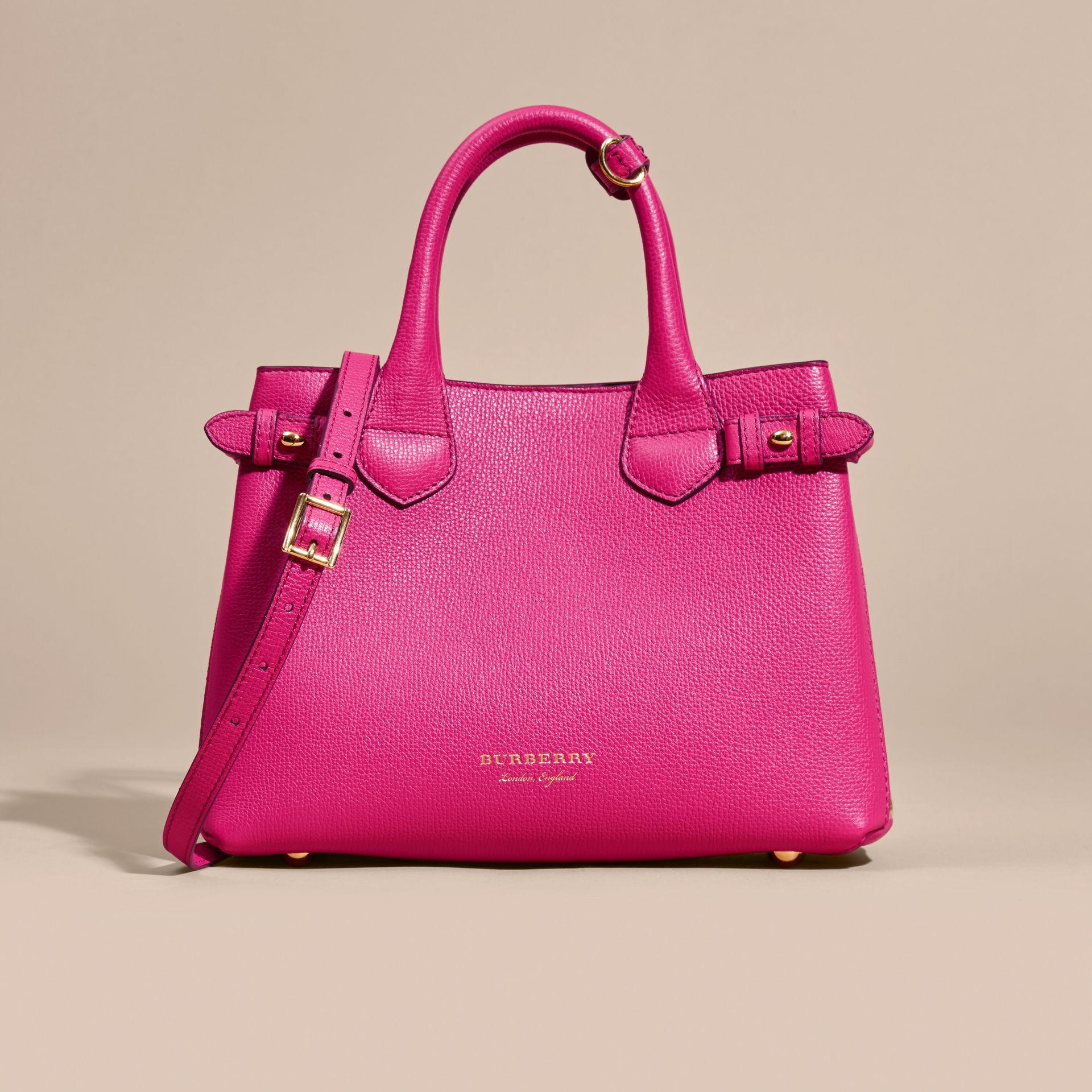 Fuchsia vif Petit sac The Banner en cuir et coton House check Fuchsia Vif - photo de la galerie 7