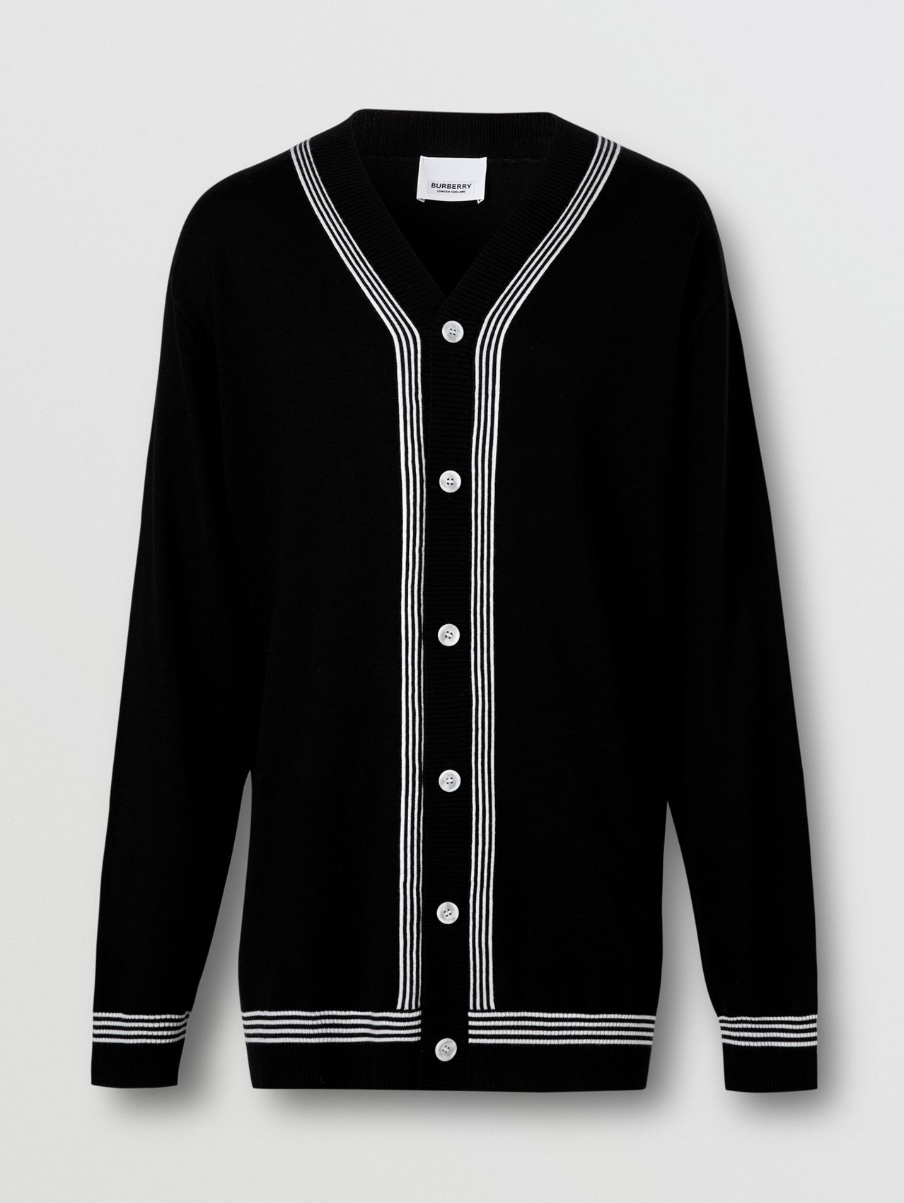 Stripe Detail Merino Wool Oversized Cardigan in Black
