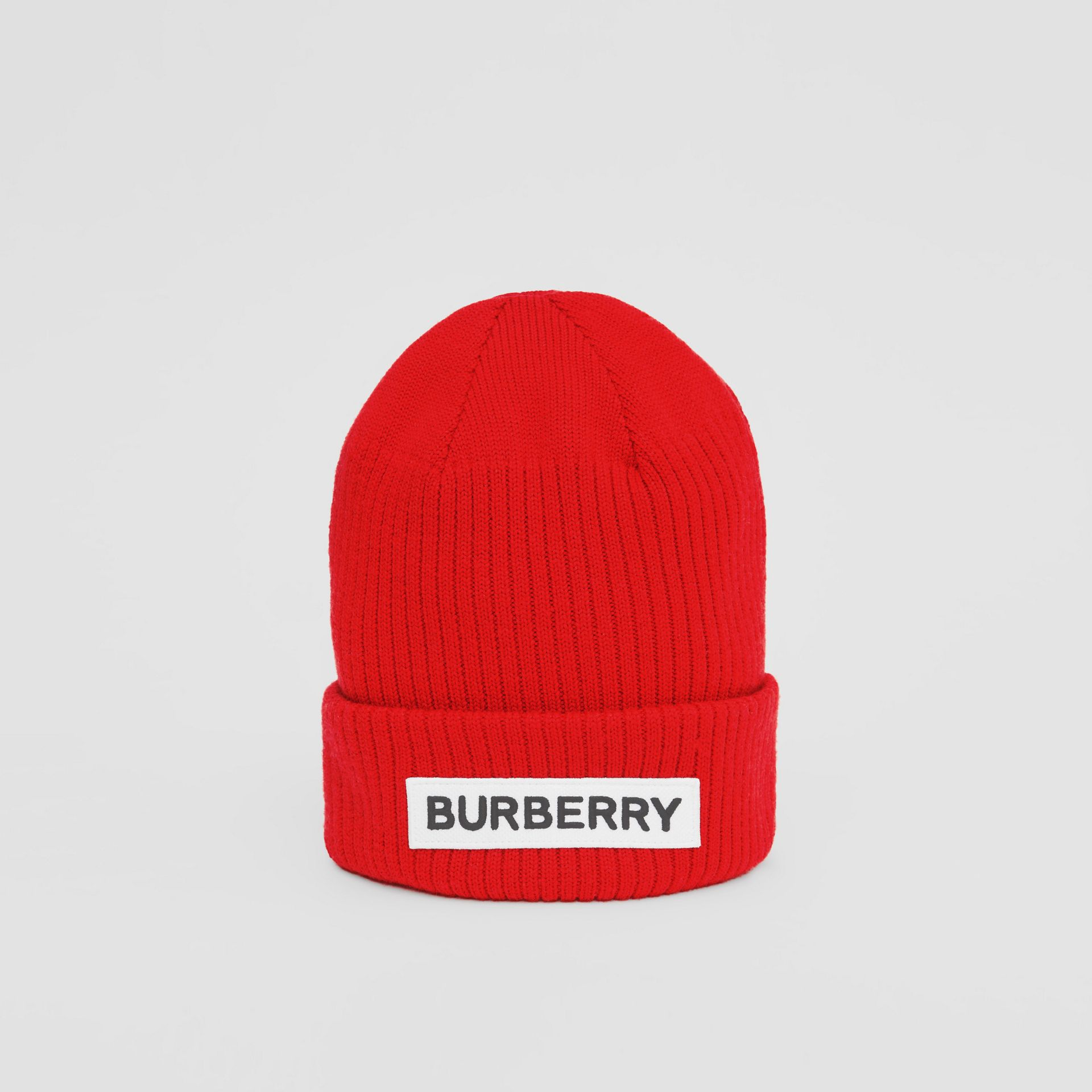 Logo Detail Rib Knit Merino Wool Beanie in Bright Red - Children | Burberry United States - gallery image 0