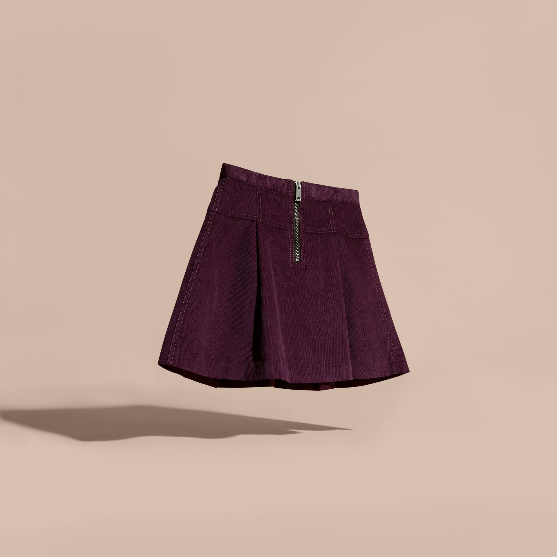 Blackcurrant Pleated Cotton Corduroy Skirt - gallery image 4