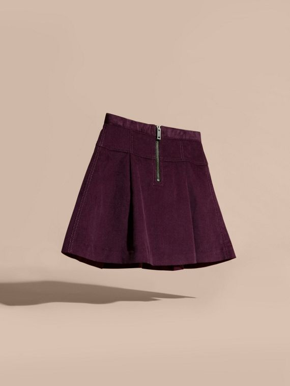 Blackcurrant Pleated Cotton Corduroy Skirt - cell image 3