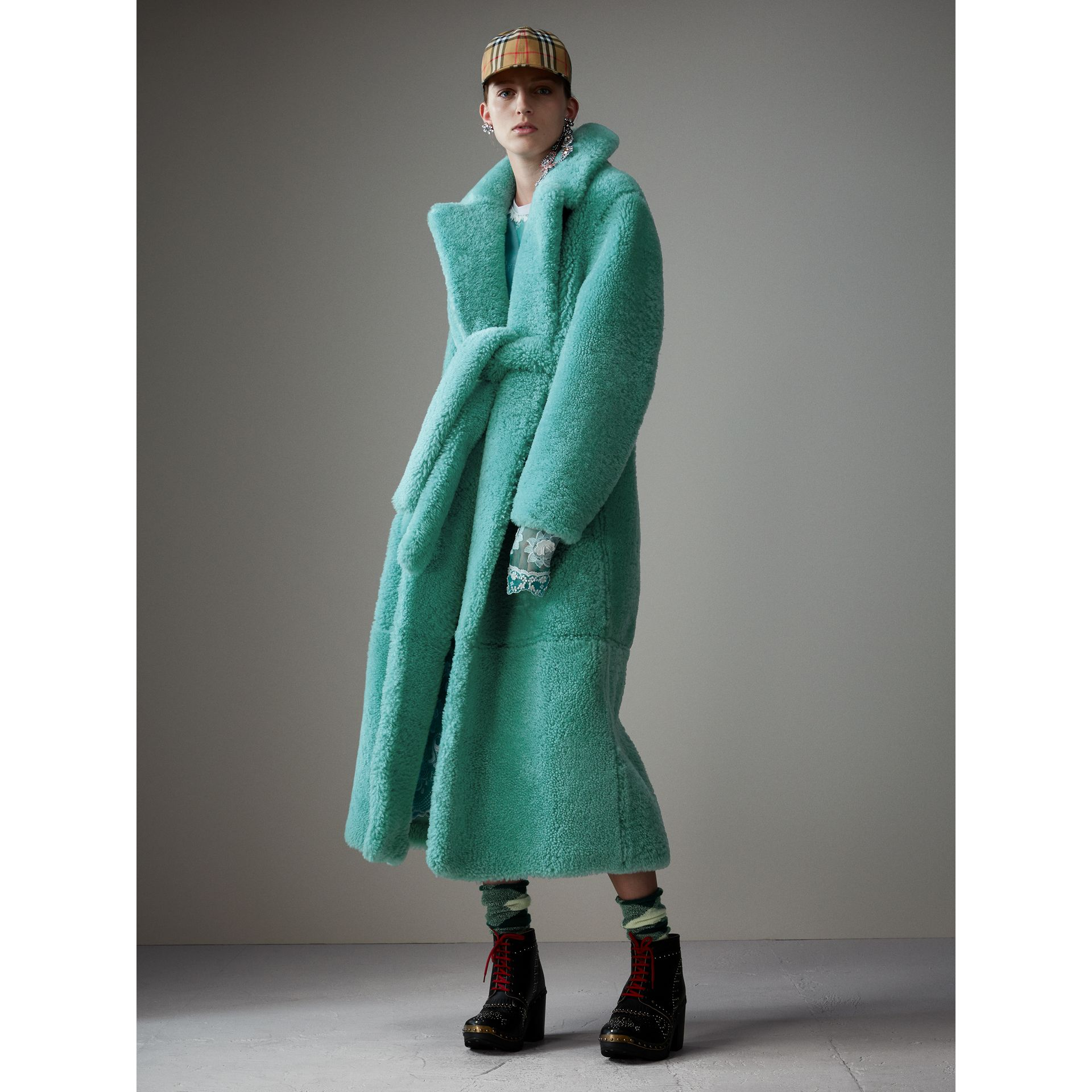 Shearling Oversized Coat in Turquoise - Women | Burberry - gallery image 6