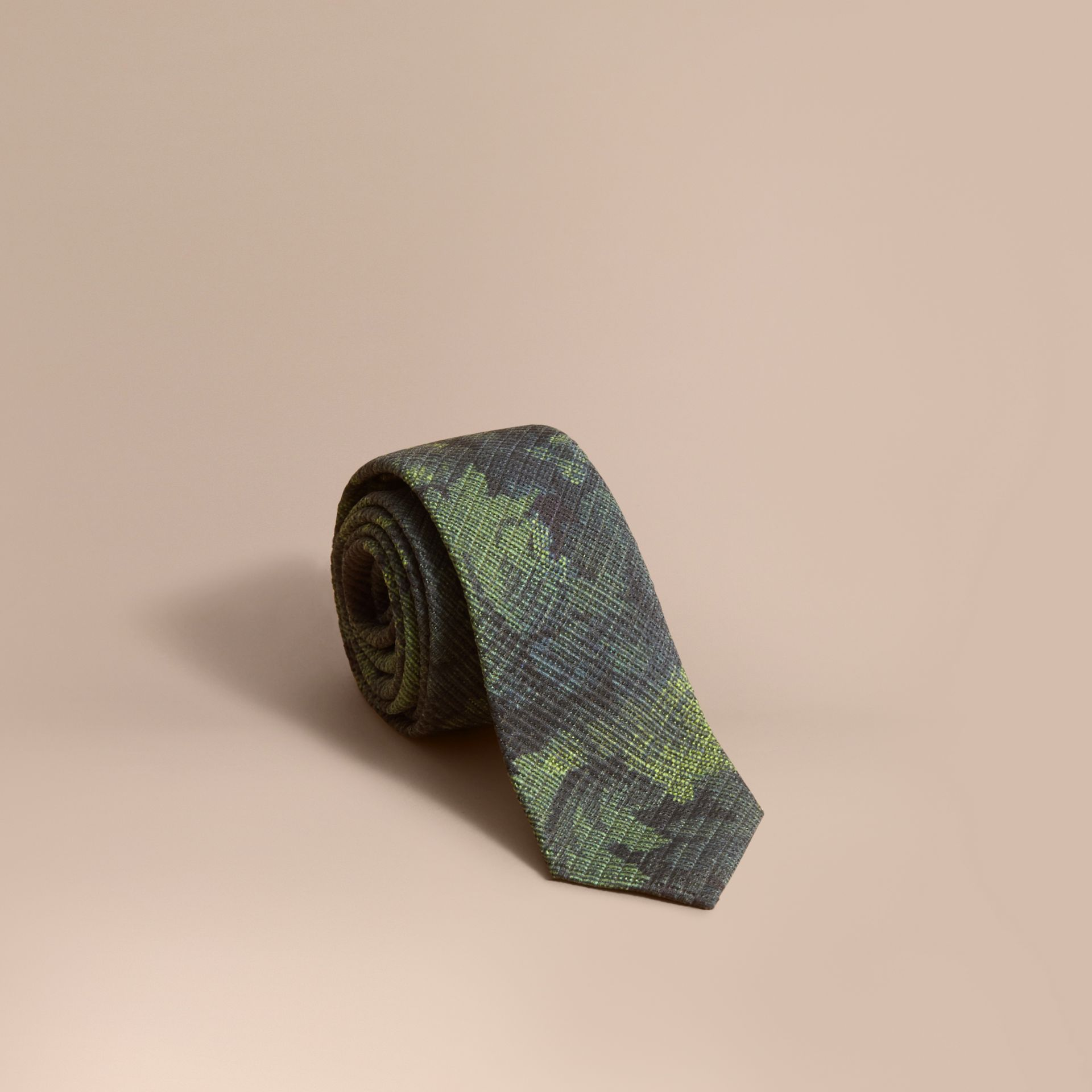 Modern Cut Tapestry Print Tie Racing Green - gallery image 1