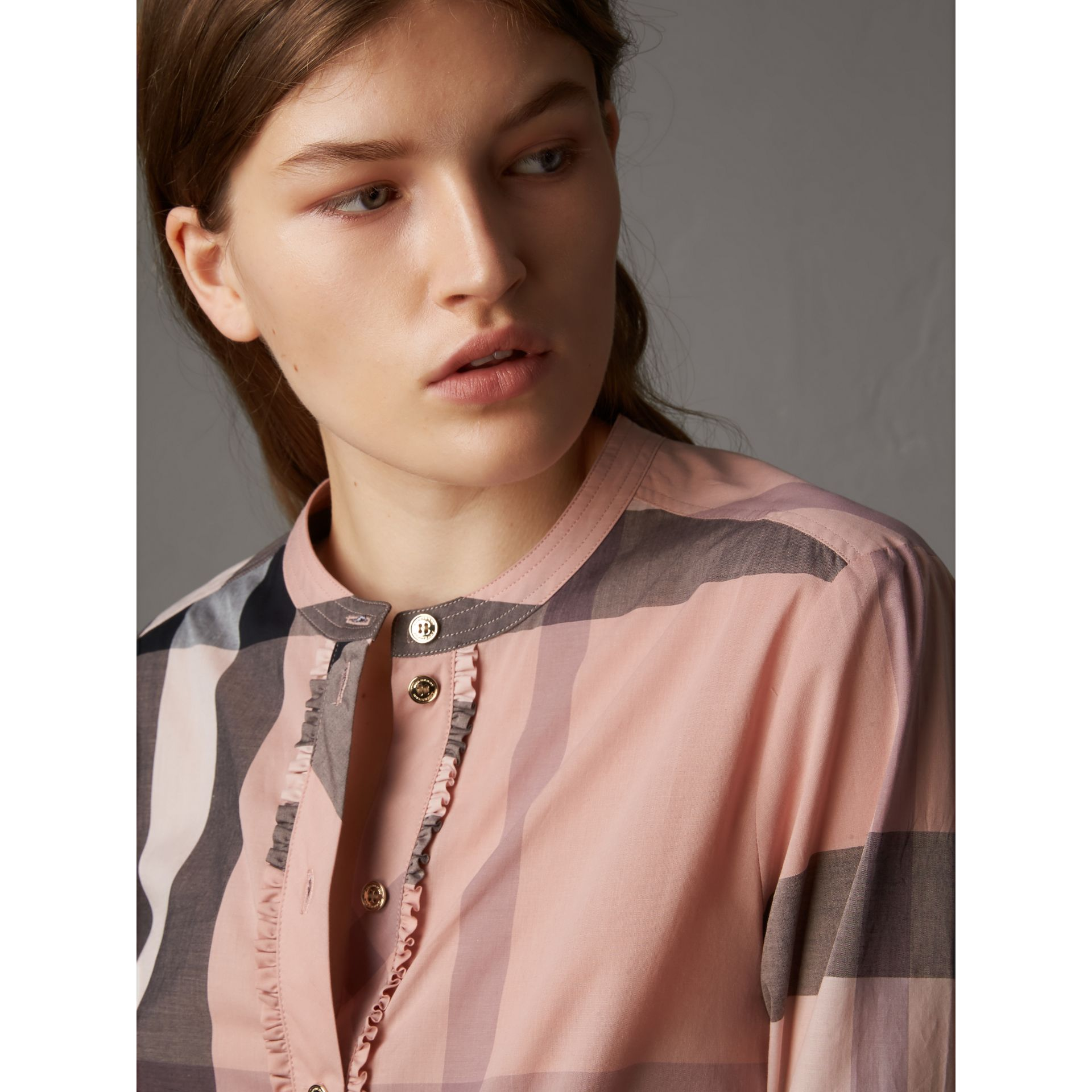 Check Grandad Collar Shirt in Antique Pink - Women | Burberry - gallery image 1
