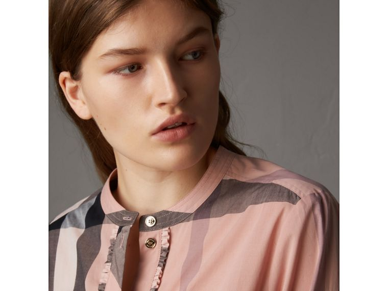 Check Grandad Collar Shirt in Antique Pink - Women | Burberry Australia - cell image 1