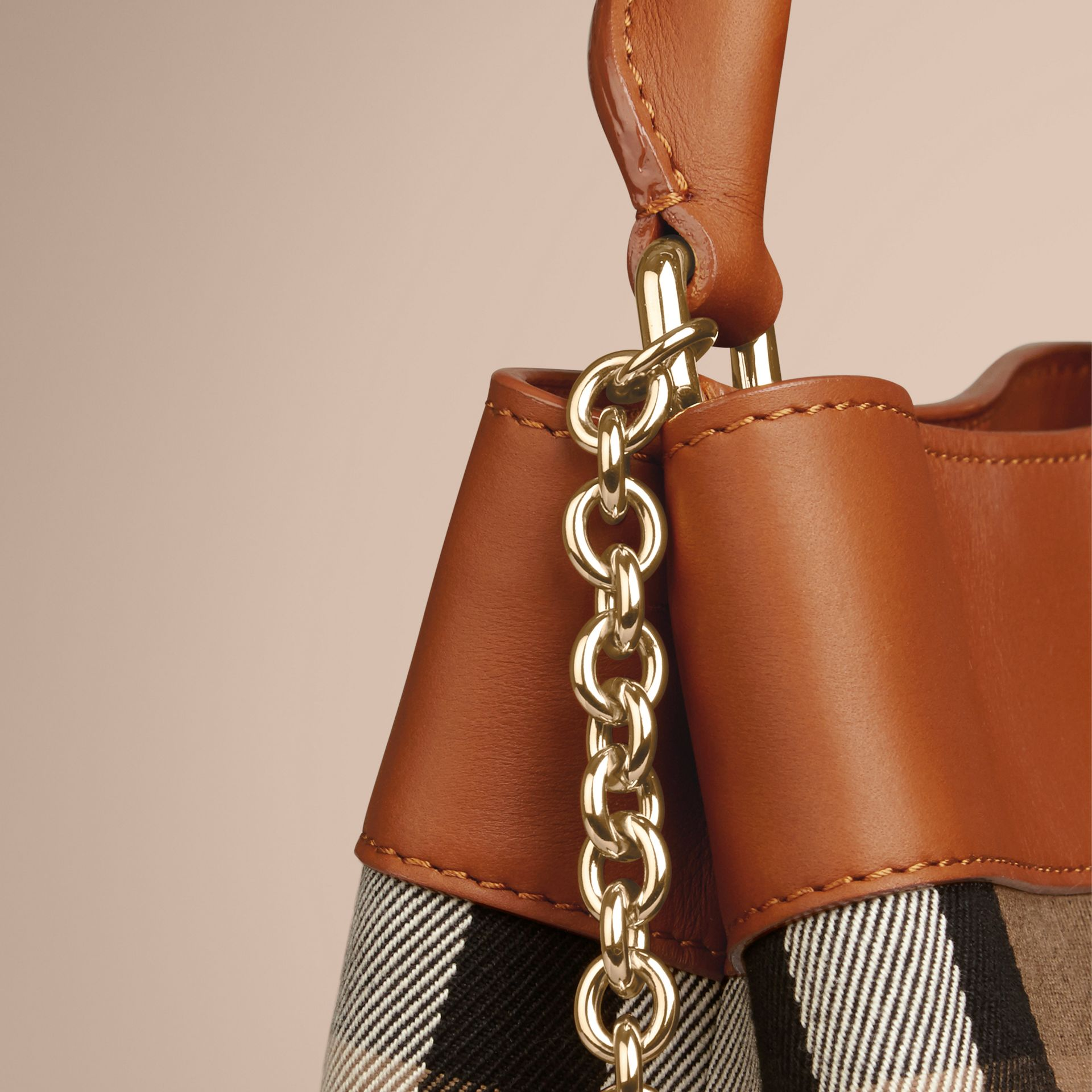 Light toffee The Small Bucket Bag in House Check and Leather Light Toffee - gallery image 6