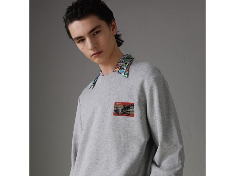 Graffitied Ticket Print Sweatshirt in Pale Grey Melange - Men | Burberry - cell image 4
