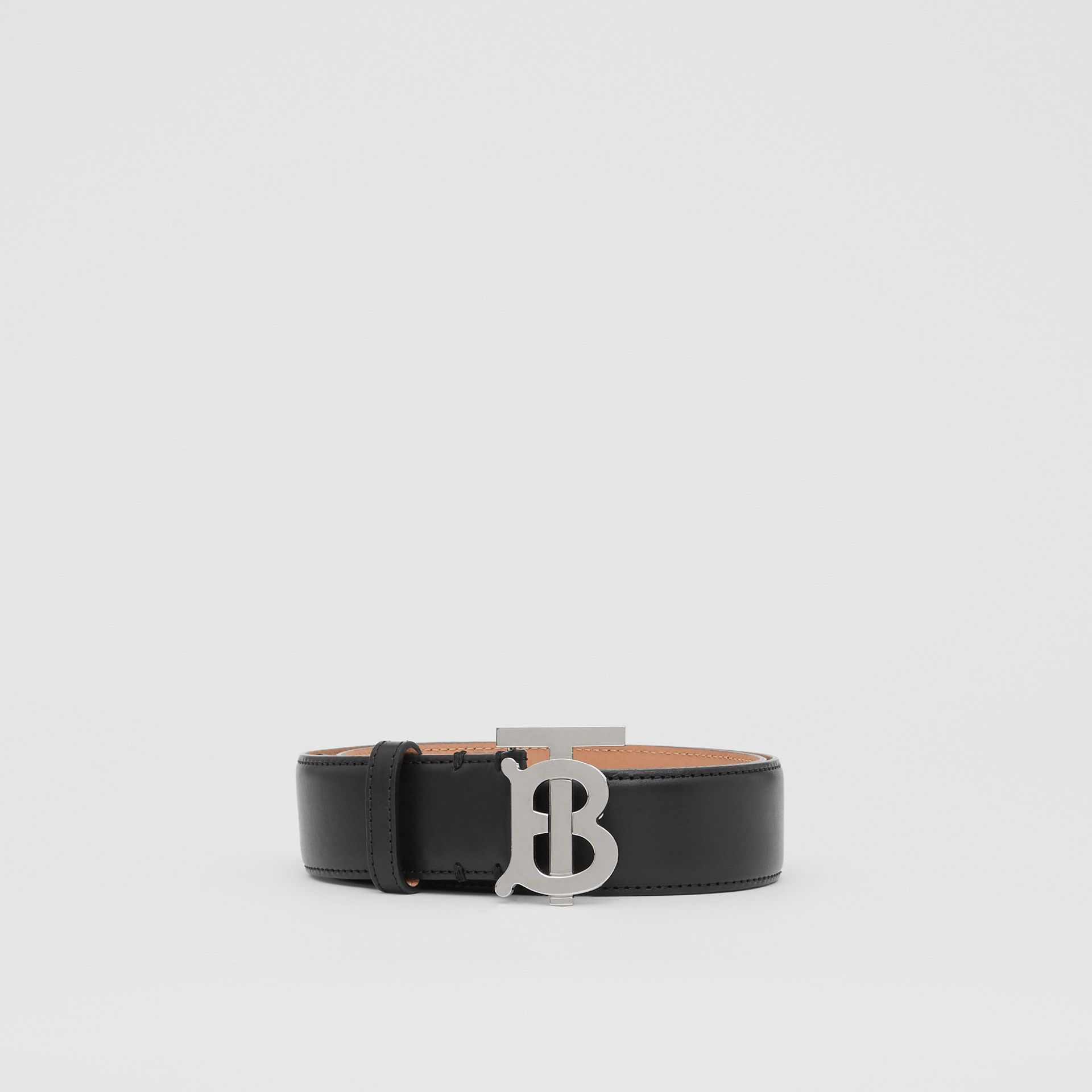 Monogram Motif Leather Belt in Black/palladio - Women | Burberry - gallery image 3