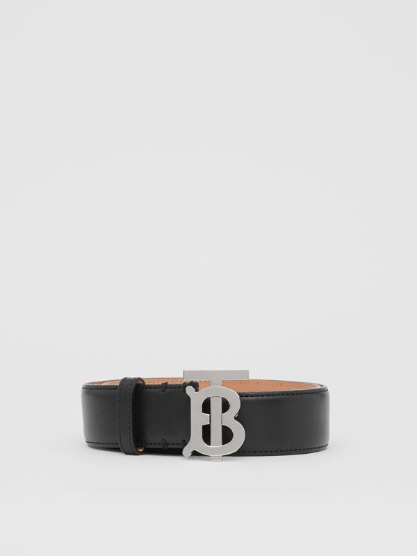 Monogram Motif Leather Belt in Black/palladio - Women | Burberry - cell image 3