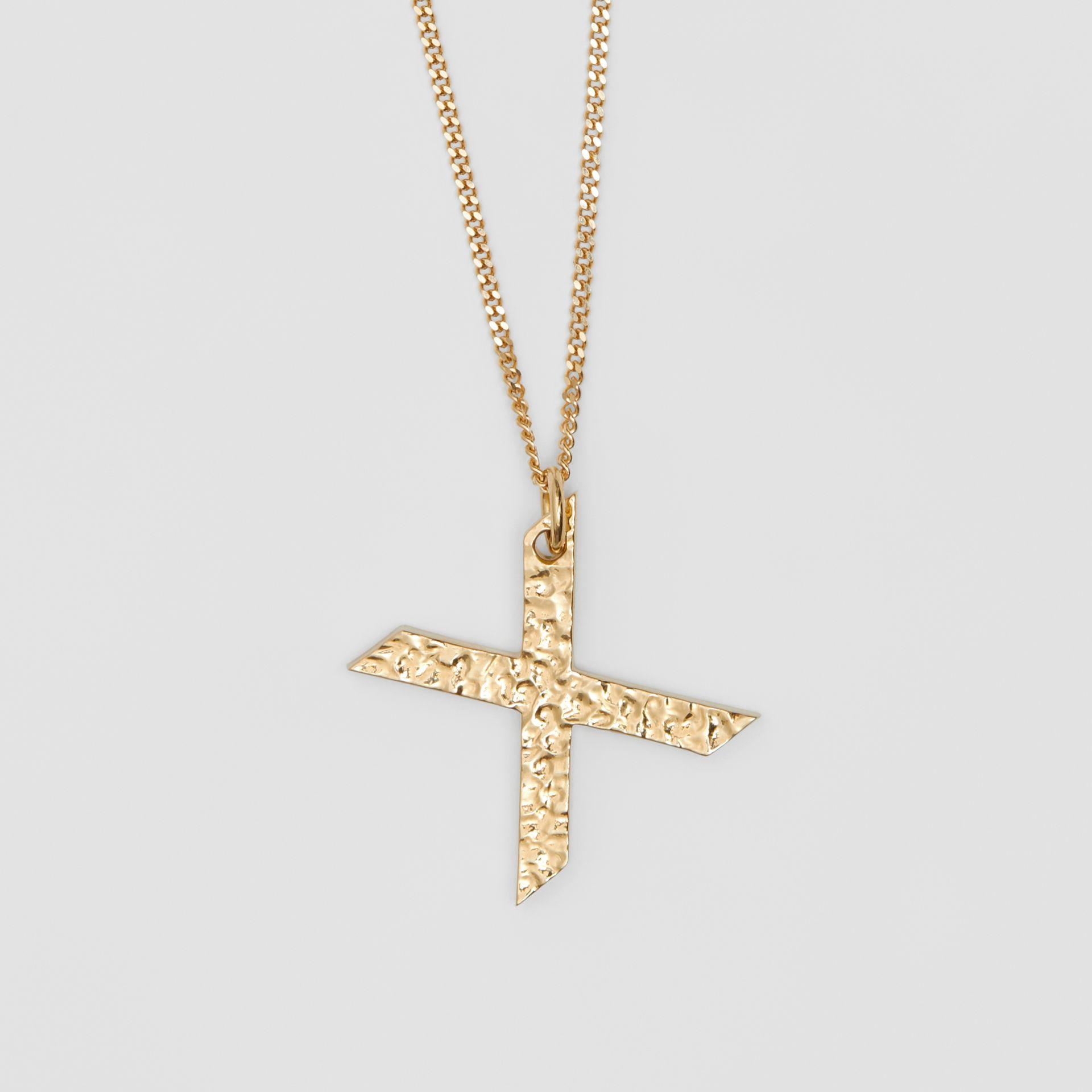 'X' Alphabet Charm Gold-plated Necklace in Light - Women | Burberry United Kingdom - gallery image 2
