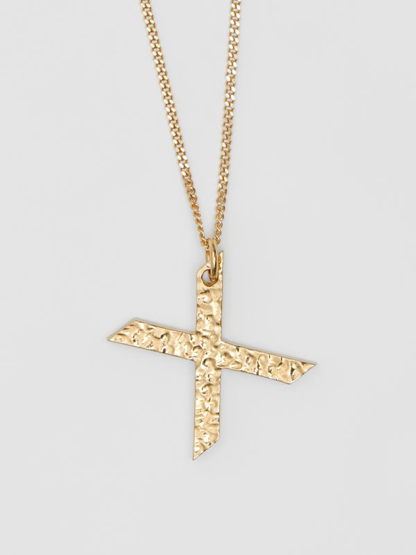 'X' Alphabet Charm Gold-plated Necklace in Light - Women | Burberry United Kingdom - cell image 2