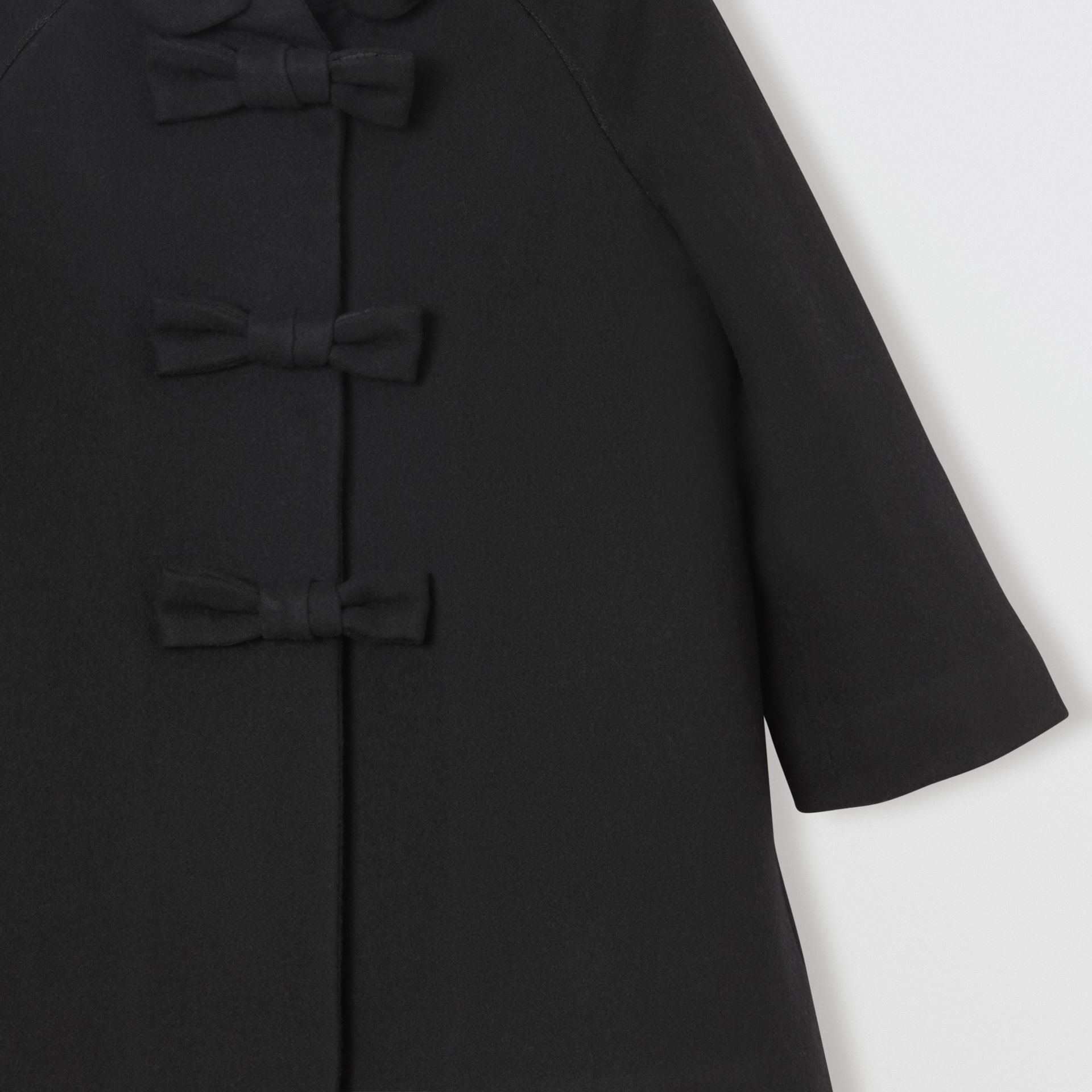 Embellished Melton Wool Swing Coat in Black | Burberry United Kingdom - gallery image 3