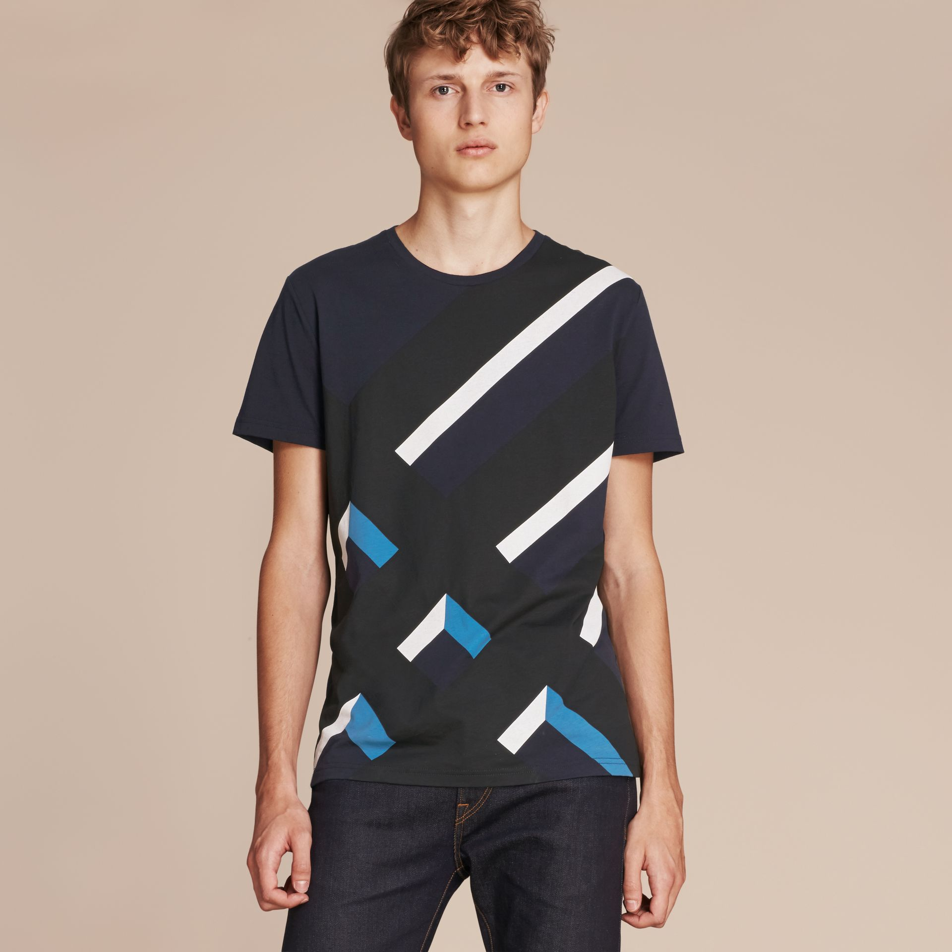 Abstract Check Print Cotton T-shirt Navy - gallery image 6