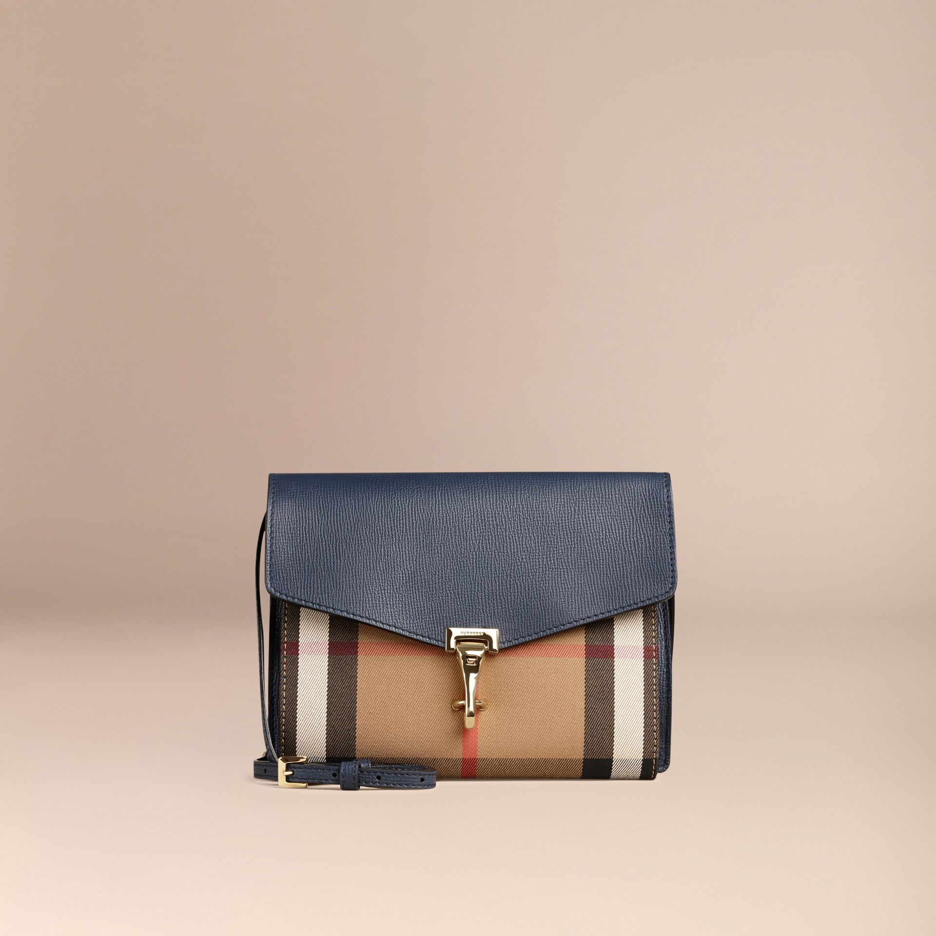 Small Leather and House Check Crossbody Bag in Ink Blue - gallery image 6