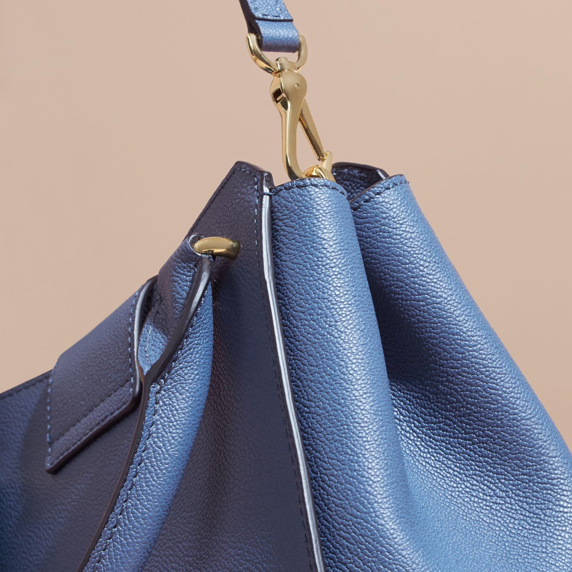 The Small Buckle Tote in Grainy Leather Steel Blue - gallery image 7