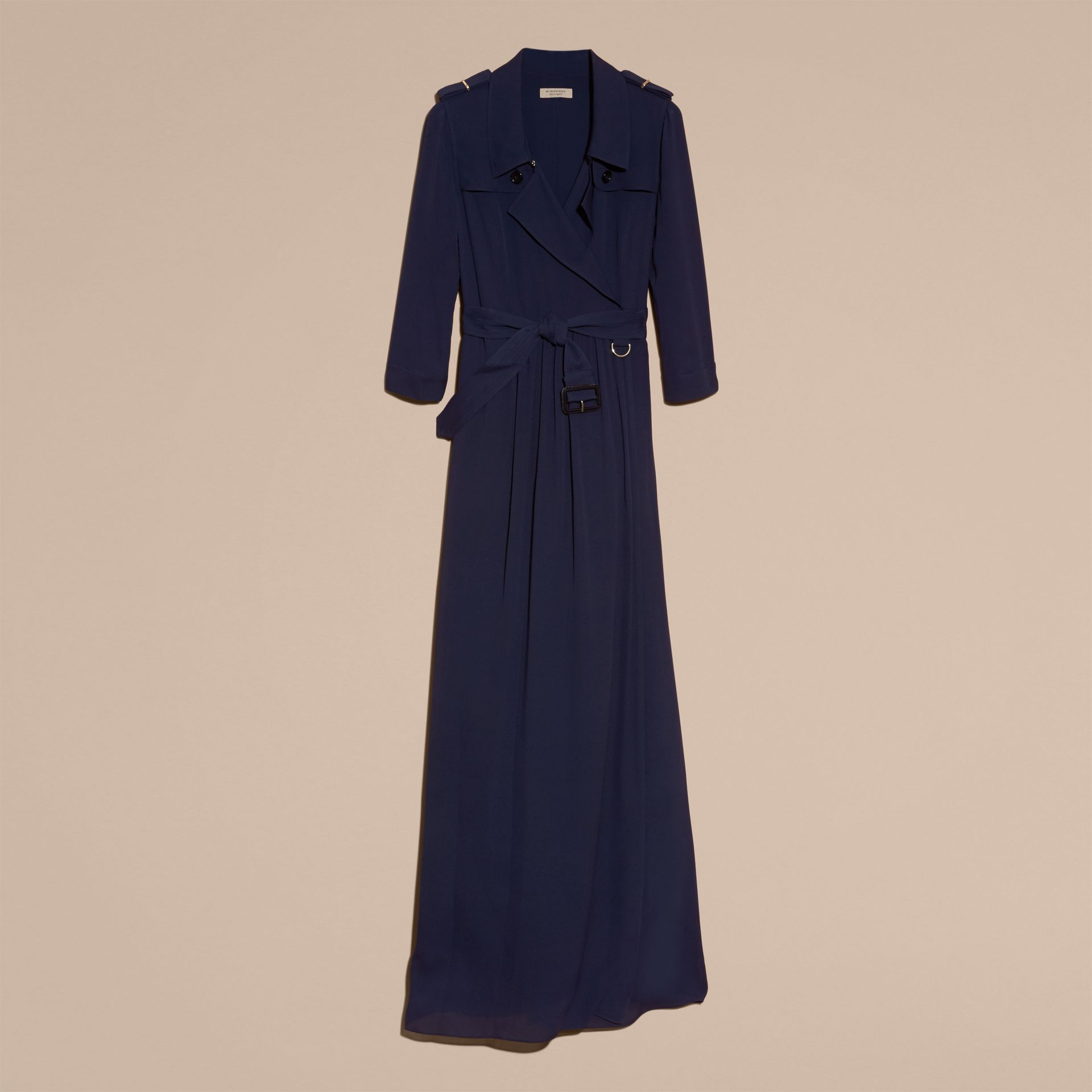 Silk Trench Dress in Navy - gallery image 4