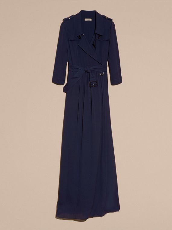 Silk Trench Dress in Navy - cell image 3