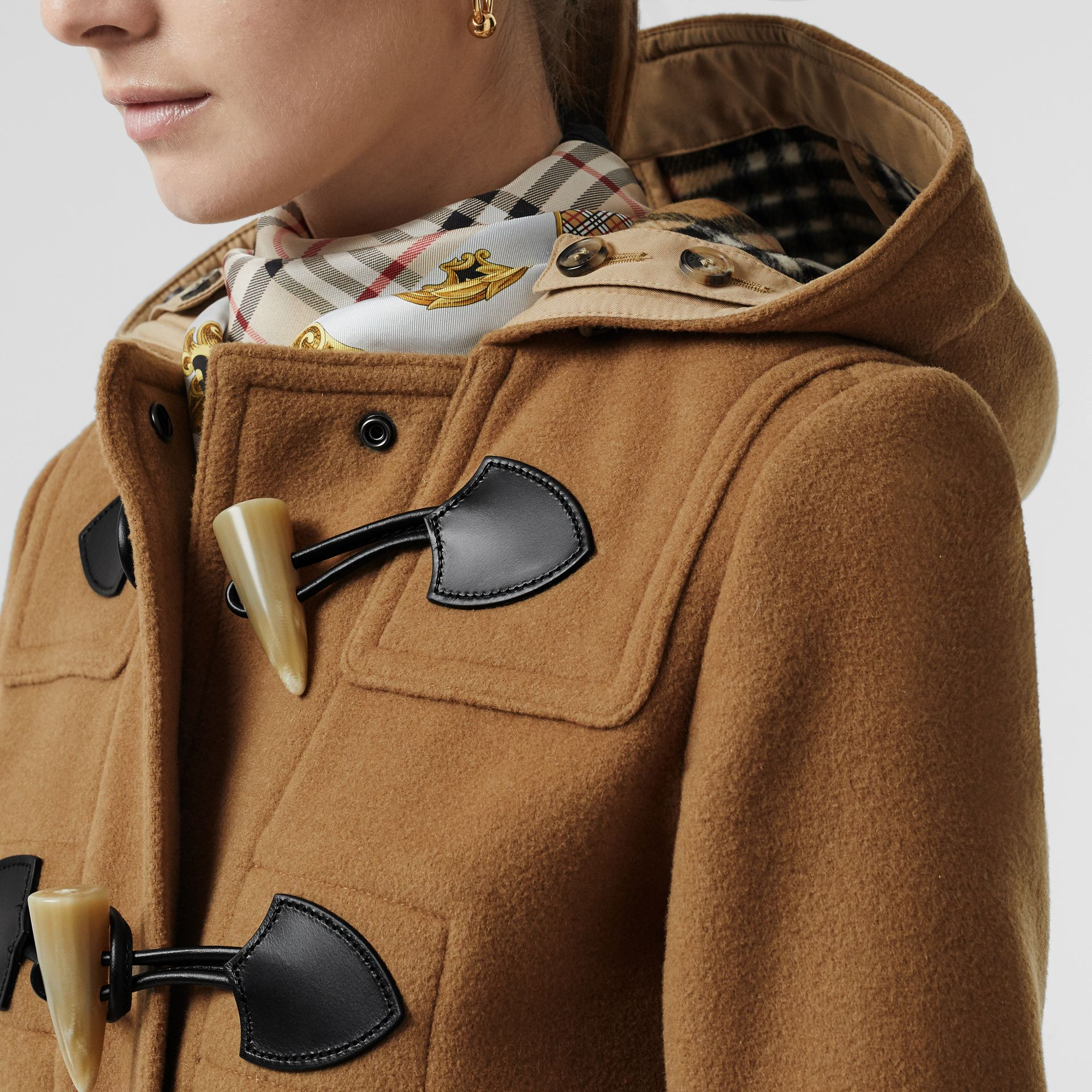 Wool Blend Duffle Coat in Camel - Women | Burberry United Kingdom - gallery image 1