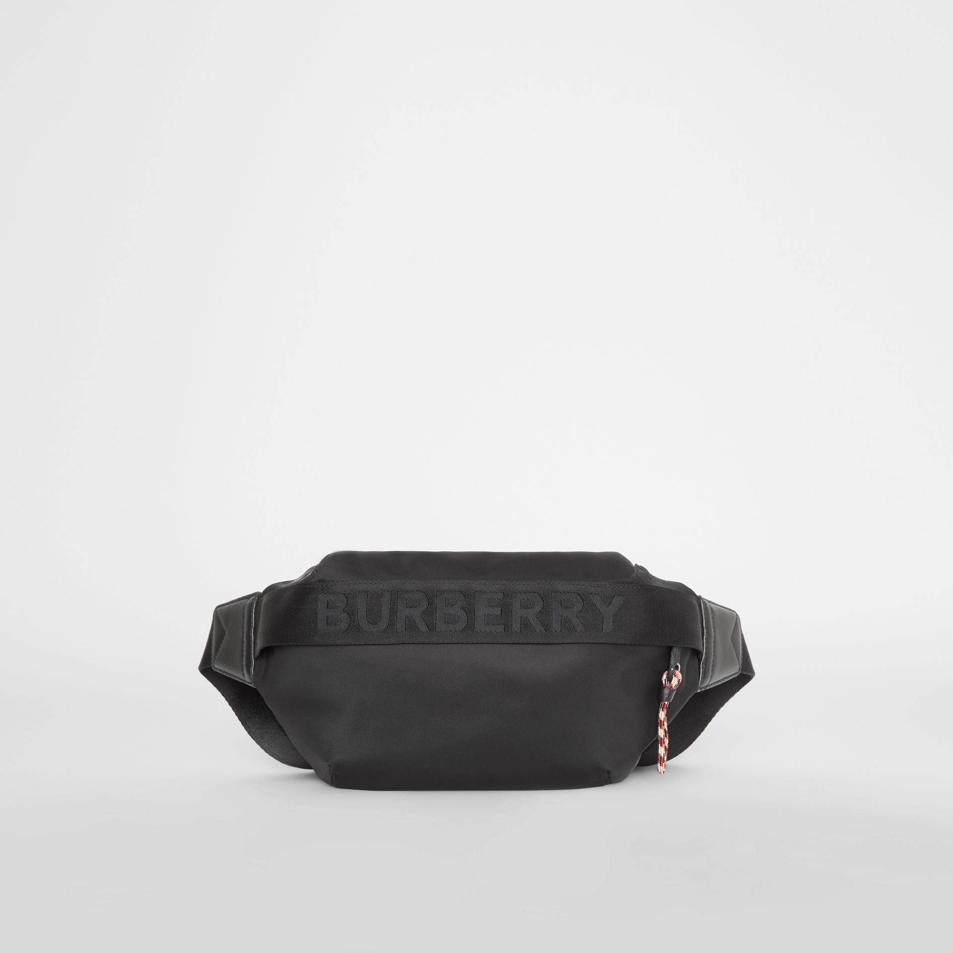 Medium Logo Detail Bum Bag in Black | Burberry Australia - gallery image 0