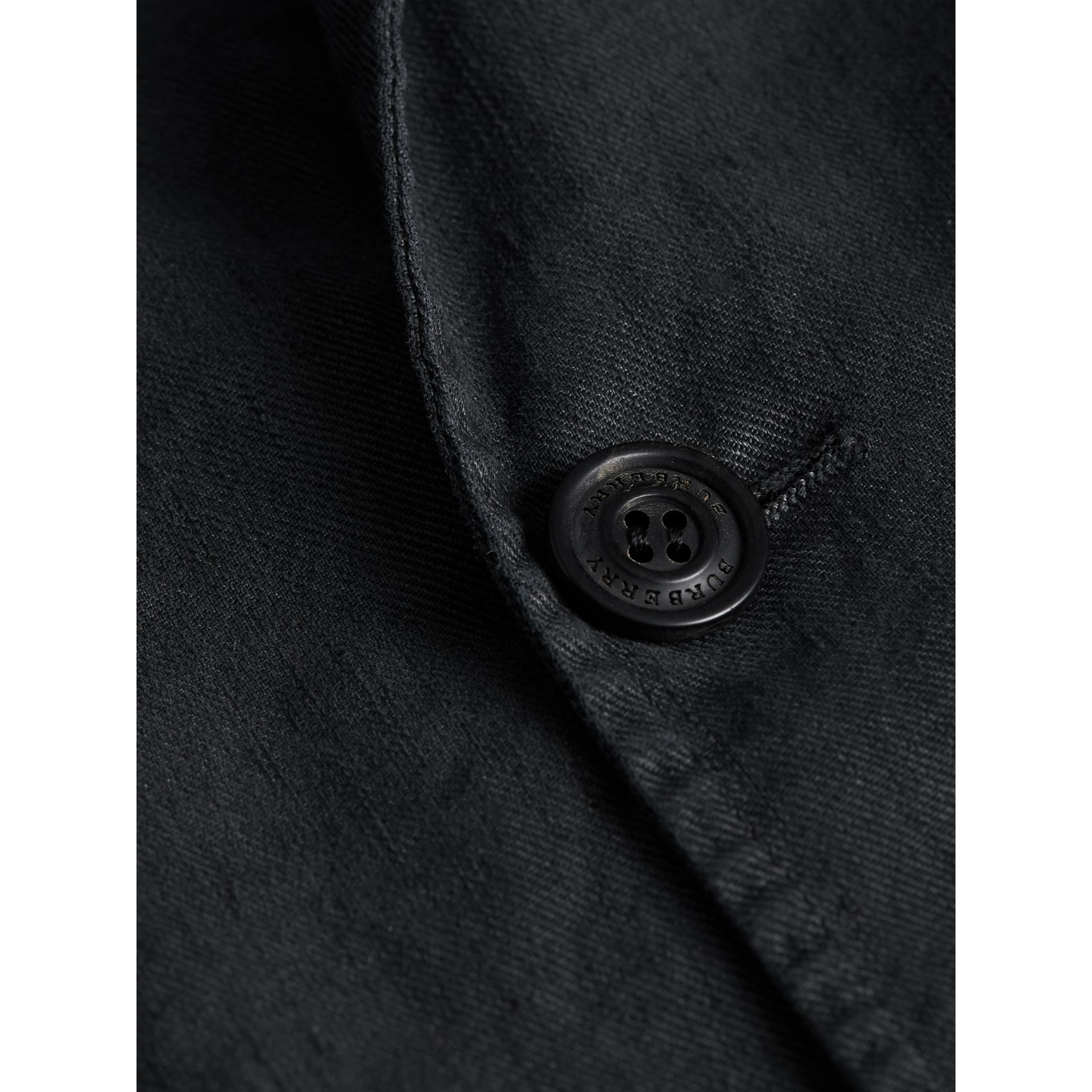Slim Fit Linen Cotton Tailored Jacket in Dark Charcoal - Men | Burberry Canada - gallery image 2