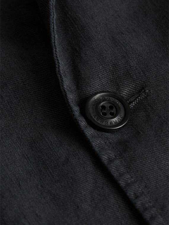Slim Fit Linen Cotton Tailored Jacket in Dark Charcoal - Men | Burberry Canada - cell image 2