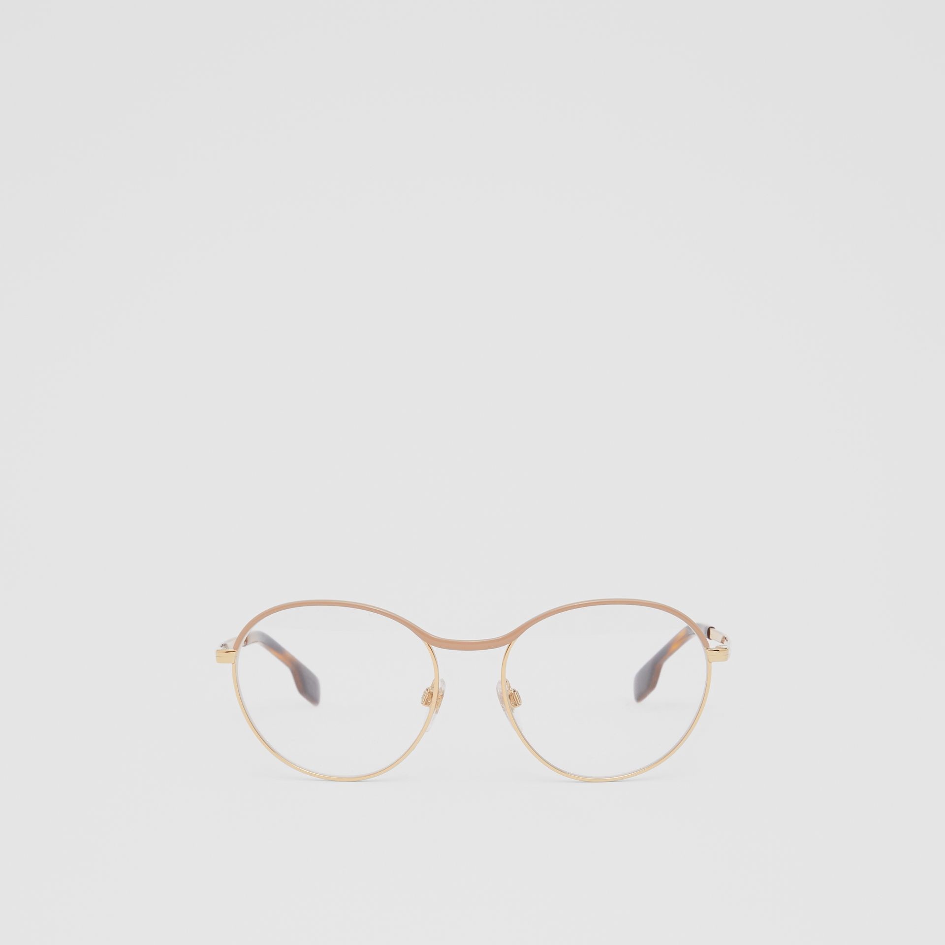 Gold-plated Round Optical Frames in Nude - Women | Burberry Canada - gallery image 0