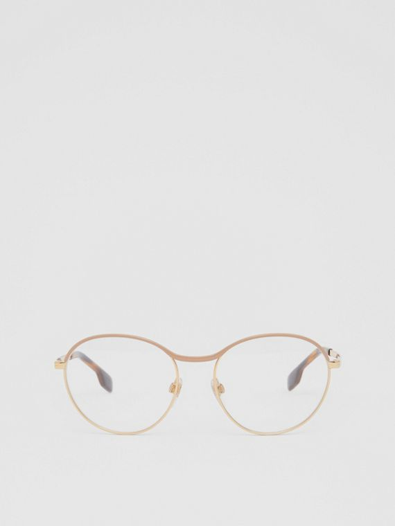 Gold-plated Round Optical Frames in Nude