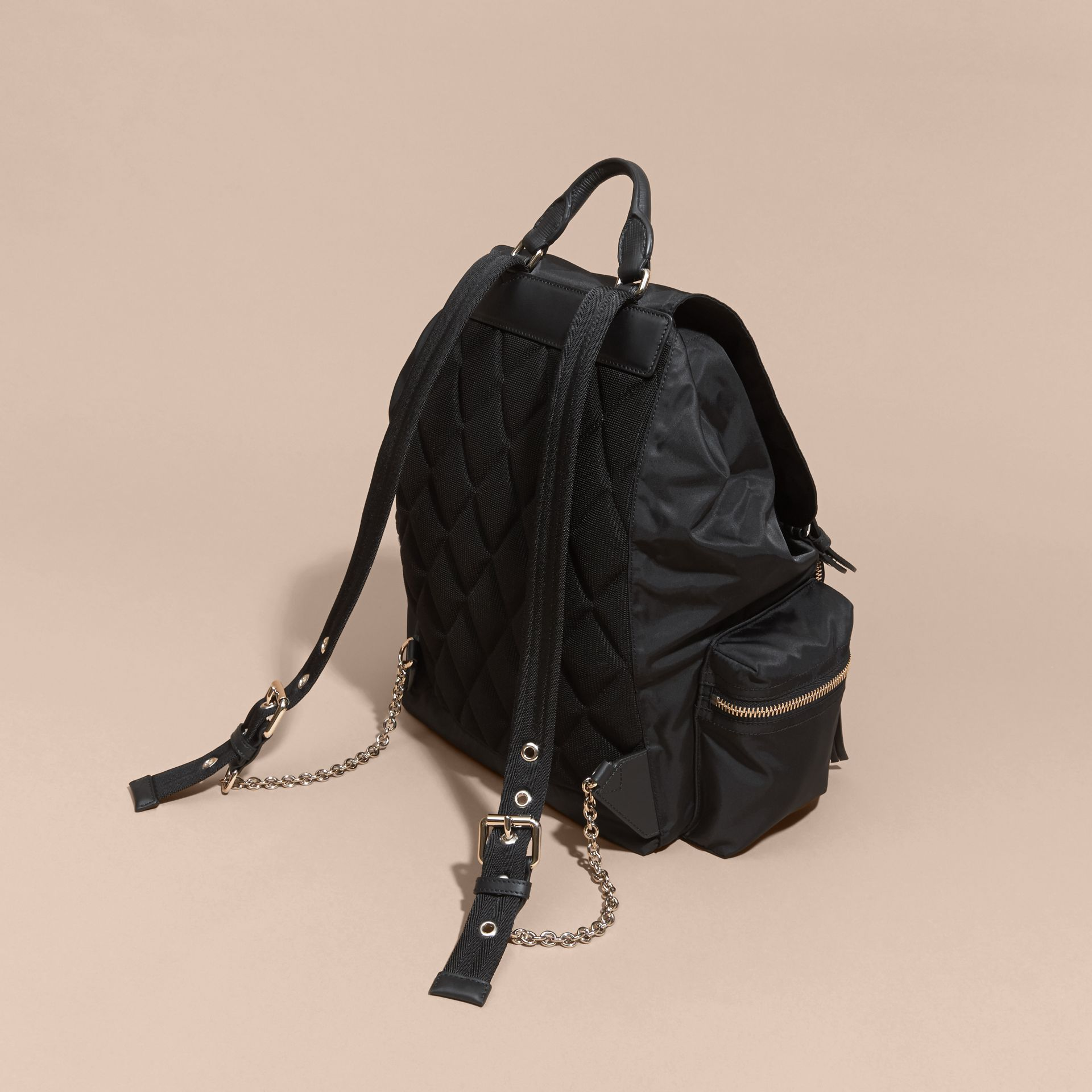 The Large Rucksack in Technical Nylon and Leather Black/black - gallery image 4