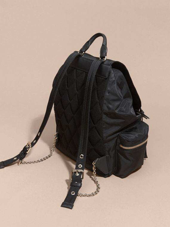 The Large Rucksack in Technical Nylon and Leather Black/black - cell image 3
