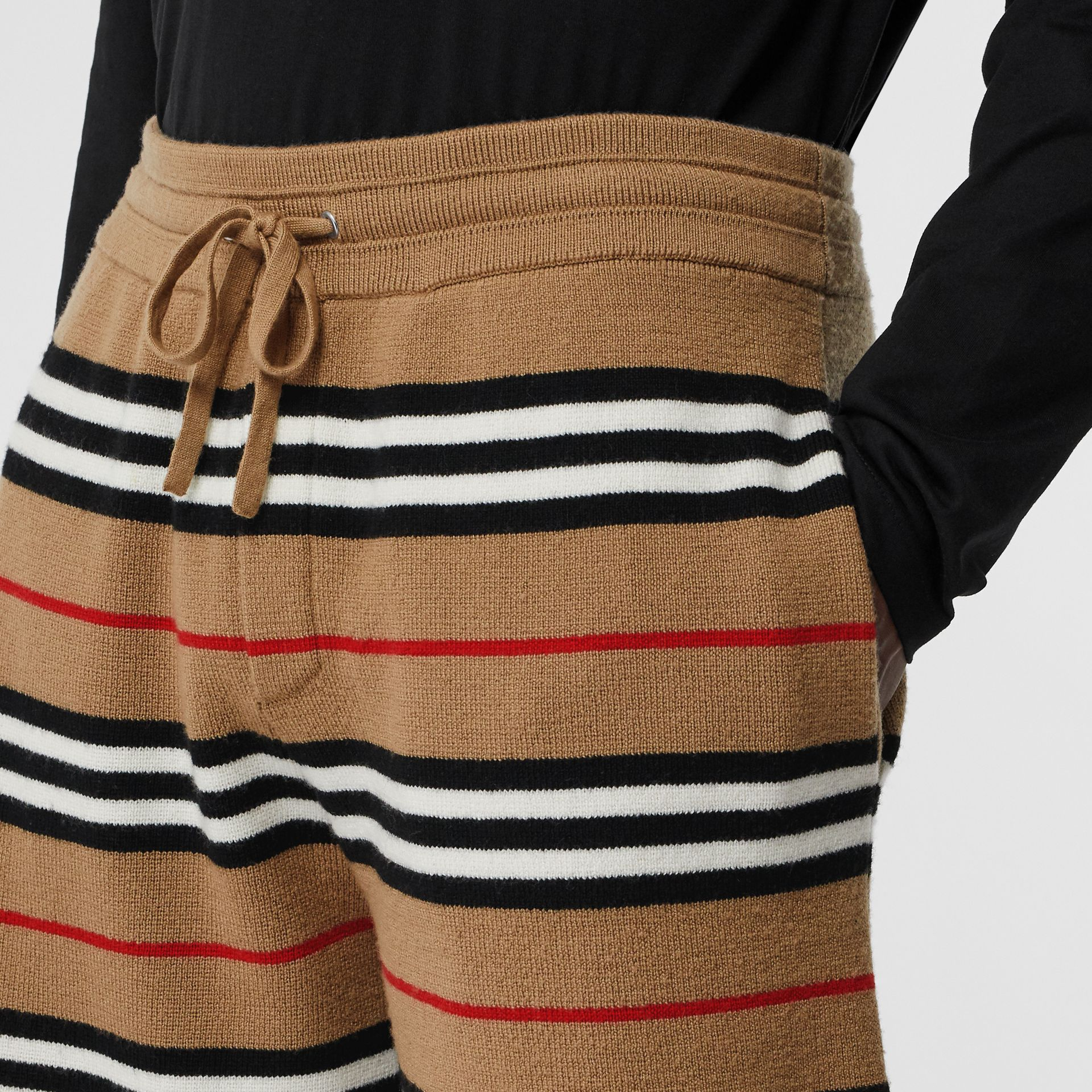 Icon Stripe Merino Wool Drawcord Shorts in Archive Beige | Burberry - gallery image 1