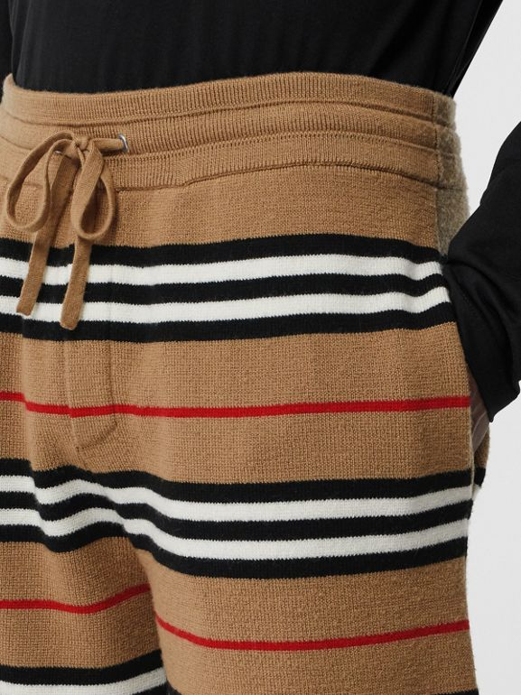 Icon Stripe Merino Wool Drawcord Shorts in Archive Beige - Men | Burberry Singapore - cell image 1