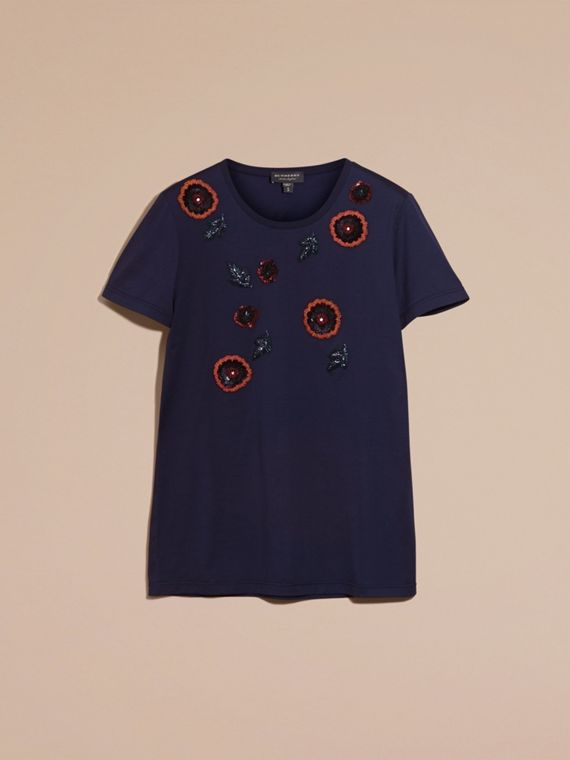 Navy T-shirt in cotone con perline cucite a mano - cell image 3