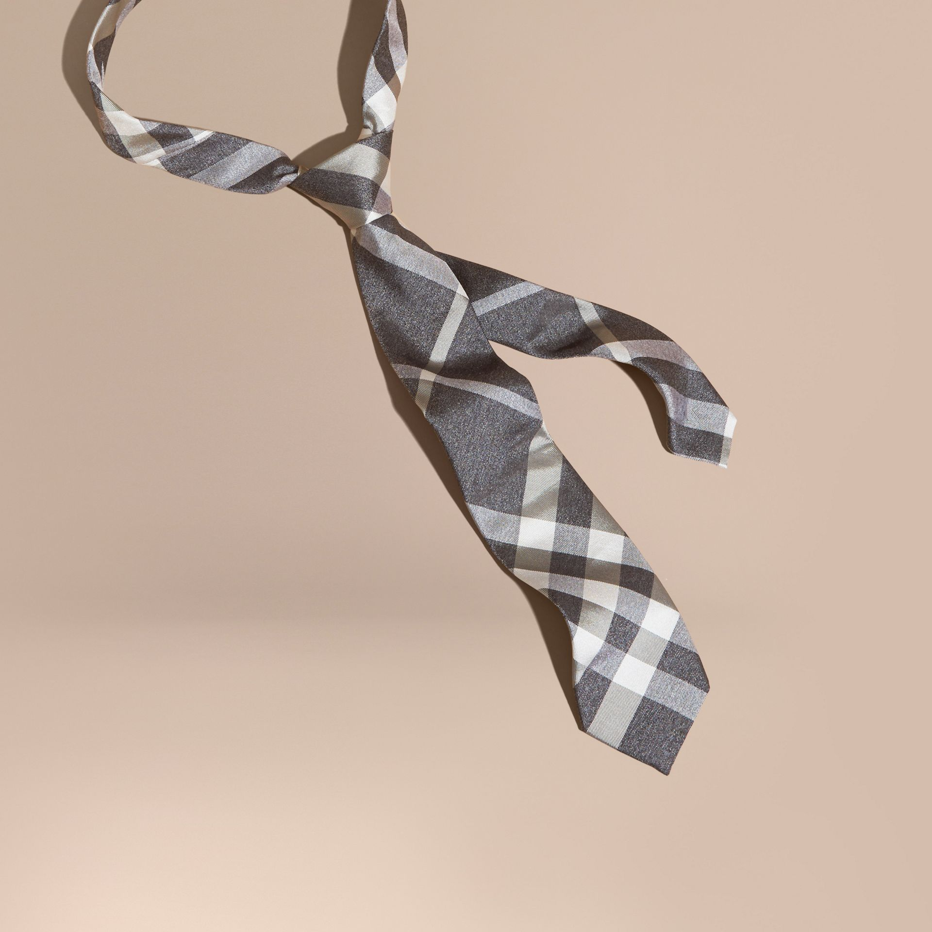 Light grey melange Modern Cut Check Jacquard Silk Tie Light Grey Melange - gallery image 1