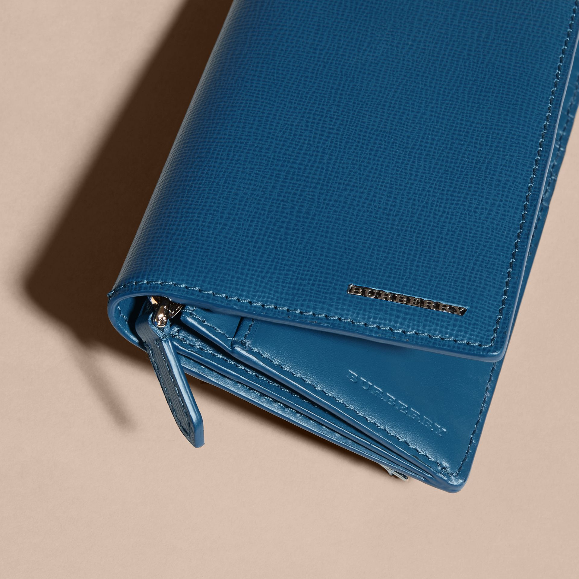 London Leather Continental Wallet in Mineral Blue - gallery image 2