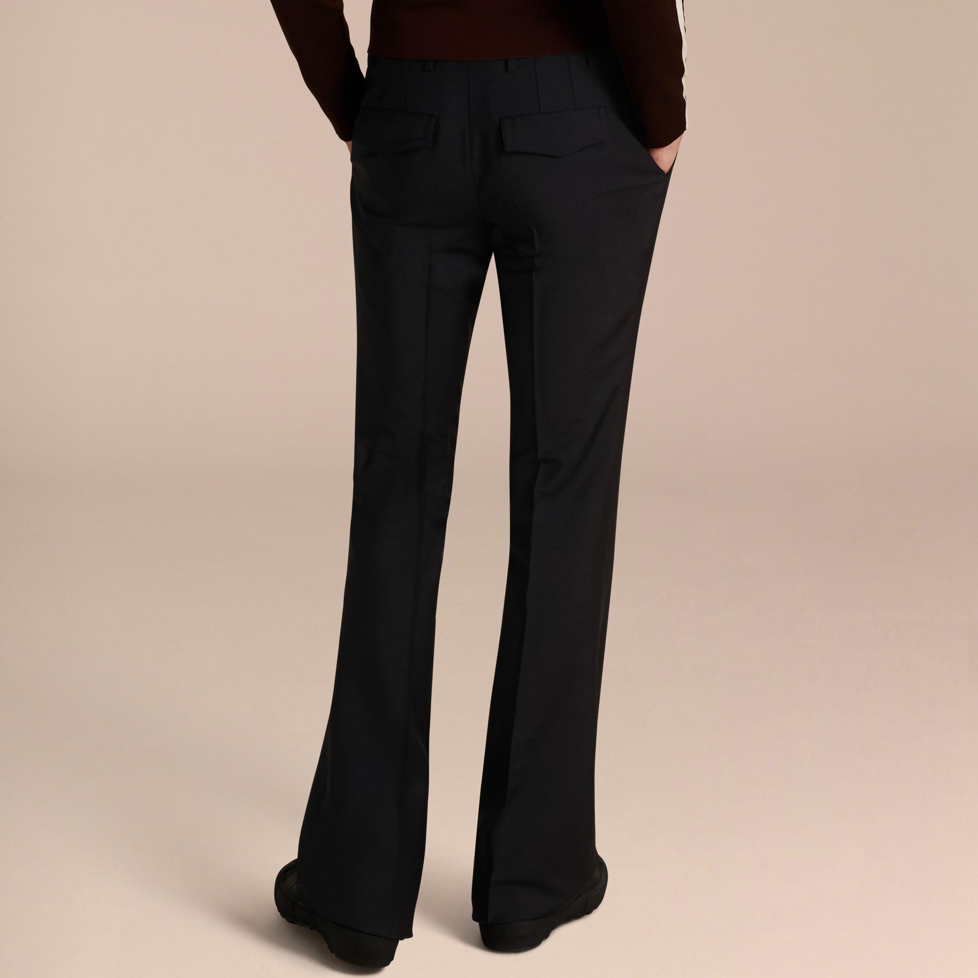 Blu peltro Pantaloni a fondo ampio in misto mohair e lana - immagine della galleria 3