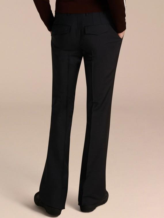 Blu peltro Pantaloni a fondo ampio in misto mohair e lana - cell image 2