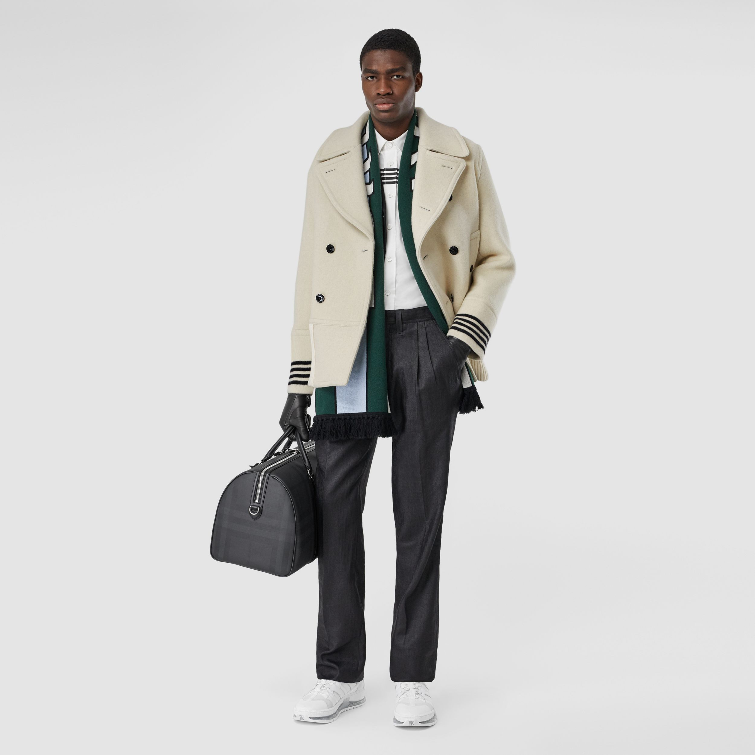 Striped Cuff Wool Pea Coat in White - Men | Burberry - 1