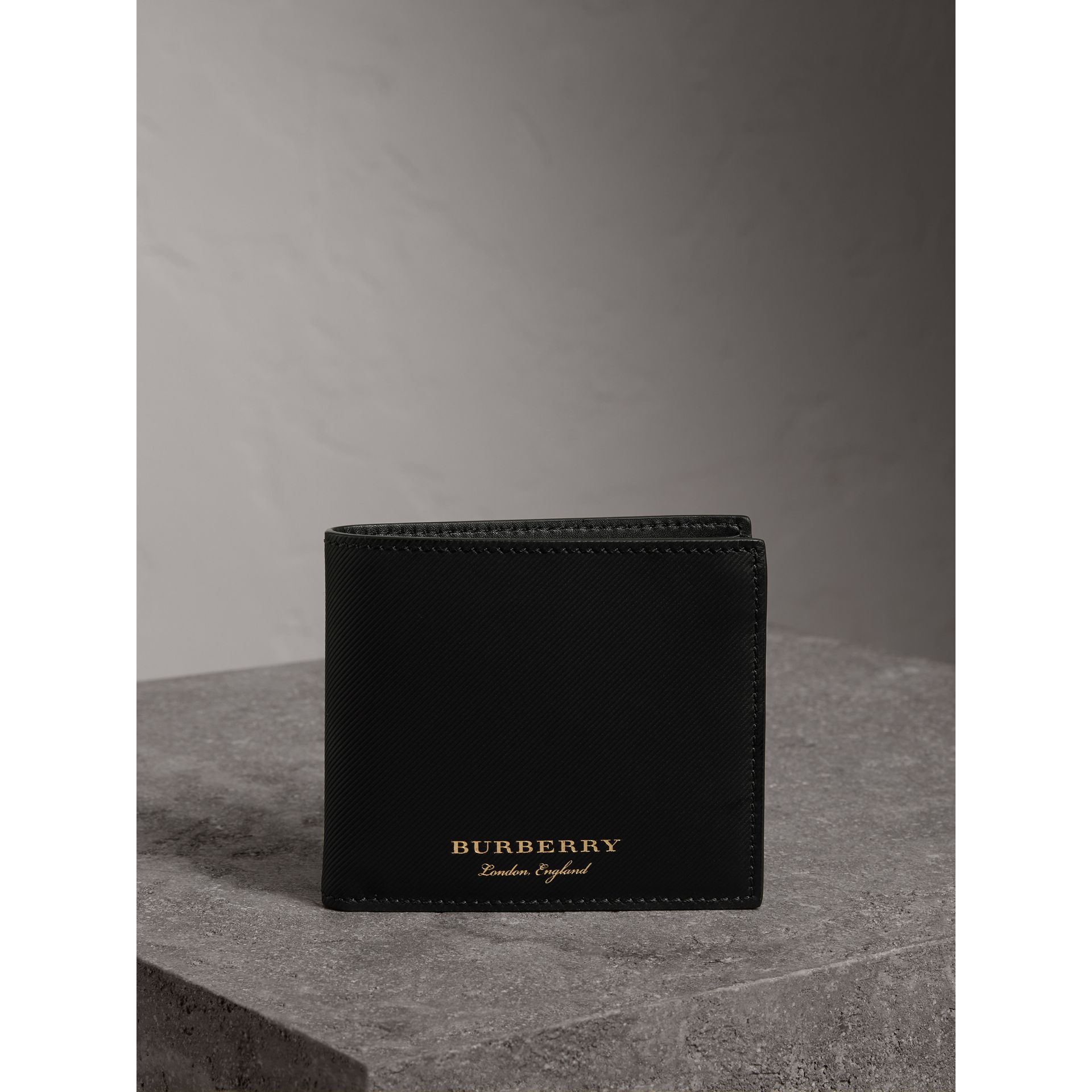 Trench Leather International Bifold Wallet in Black - Men | Burberry - gallery image 4