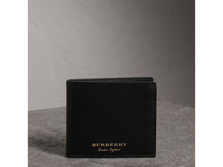 Trench Leather International Bifold Wallet in Black - Men | Burberry - cell image 4
