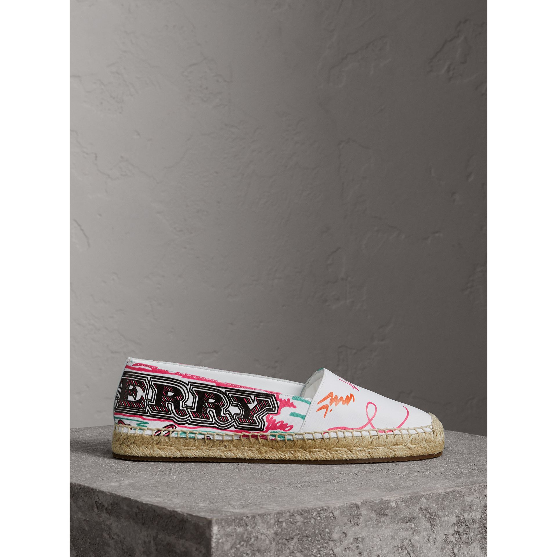 Doodle Print Coated Cotton Espadrilles in Optic White - Women | Burberry - gallery image 4