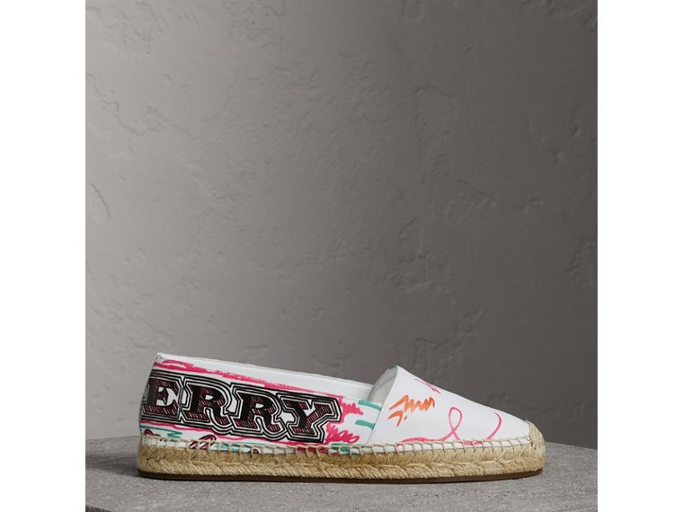 Doodle Print Coated Cotton Espadrilles in Optic White - Women | Burberry Singapore - cell image 4