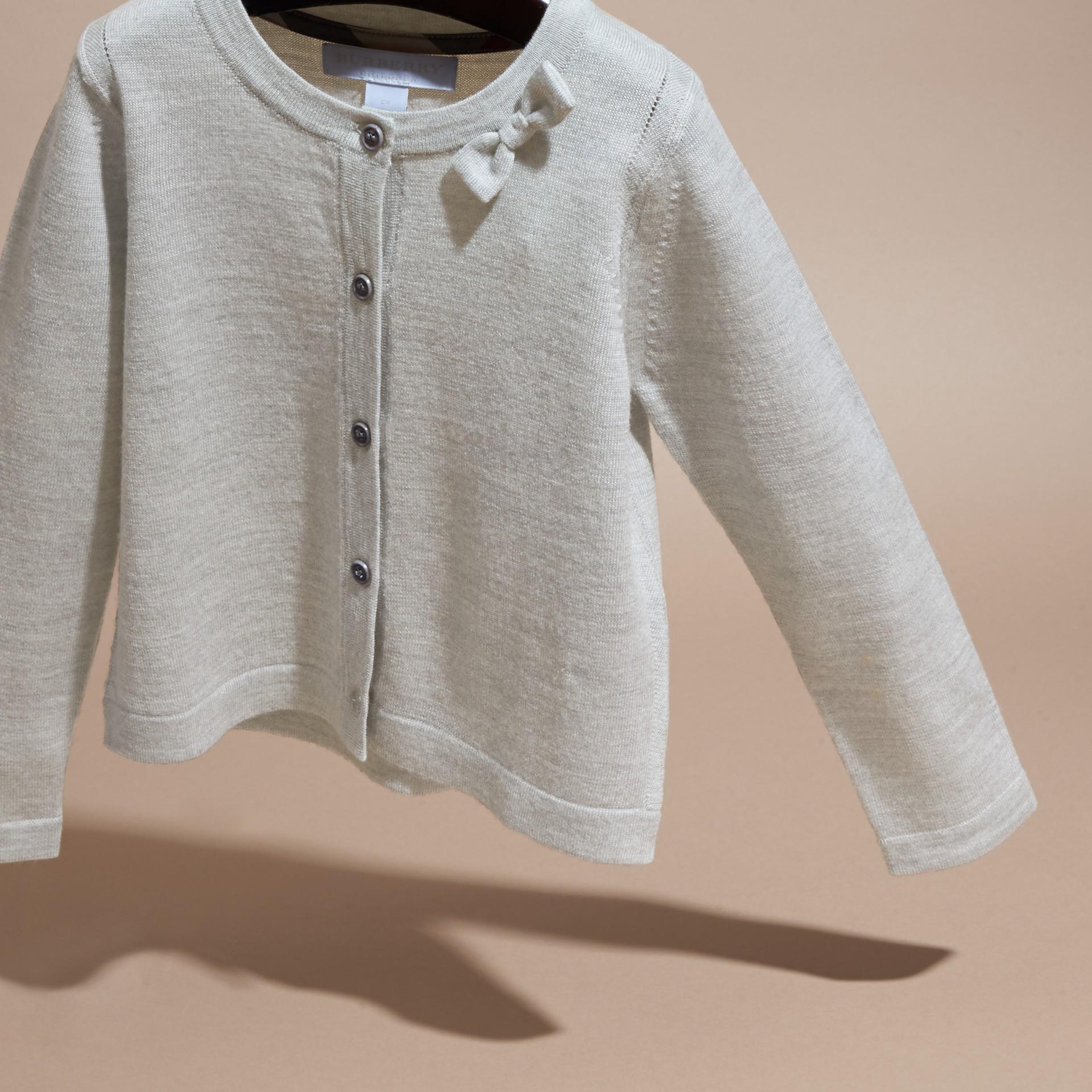 Light grey melange Lightweight Merino Wool Cardigan Grey Melange - gallery image 3