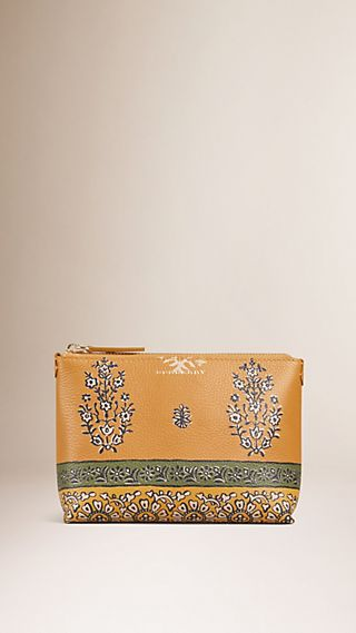 Wild Flowers Print Grainy Leather Beauty Pouch